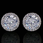 Women's 18K White Gold Plated Crystal Zircon Inlaid Ear Stud Earrings Jewelry