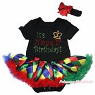 Personalized 1st Birthday Black Bodysuit Rainbow Rhombus Girls Baby Dress NB-18M