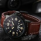 NAVIFORCE Mens Leather Waterproof Analog 9028 Military Quartz Sport Date Watch