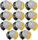 "12 Black Silver Gold 11"" Balloons Helium / Air Happy Birthday Party Decorations"