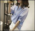 Fashion Womens Strip Cotton Blend V Neck Short Sleeves T-Shirt Stylish Button