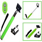 GREEN SELFIESTICK TELESCOPIC HANDLE+REMOTE SHUTTER FOR FOR VARIOUS MOBILE PHONES