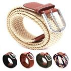 Women Men Leather Covered Buckle Woven Stretch Golf Wide Canvas Belts Elastic S