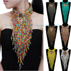 Fashion Jewelry Resin Choker Collar Long Fringe Statement Pendant Bib Necklace