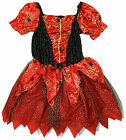 Girls Halloween Spider Glitter Web Red Costume Party Fancy Dress 5 to 8 Years