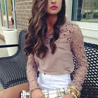 Fashion Summer Womens Loose Casual Long Sleeve Lace Shirt Blouse Ladies Tops TY