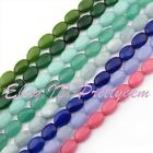 10x14mm Flat Oval Jade Gemstone For DIY Necklace Jewelry Making Loose Beads 15""