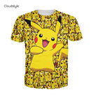 New Fashion Womens/Mens cartoon pokemon pikachu Funny 3D Print T-Shirt US235