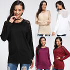 S-4XL Womens Long Sleeve Tops Pullover Casual Cotton Lace Blouse T Shirt Jumpers