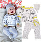 Newborn Baby Boys Girls T-shirt Tops Pants Lrggings Hat Outfits Clothes Set A01