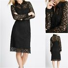 NEW Ex M&S Mark & Spencer Black Lace Shirt Dress Party Evening Cocktail 6-16UK