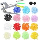 150 Sets Plastic Resin Fastener Snap Buttons + T5 Pliers Press Stud Cloth Diaper