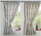 "PENELOPE MODERN FLORAL TAPE TOP CURTAINS THERMAL BLOCK OUT CURTAINS 66"" x 72"""
