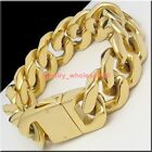 Gold/Silver 20mm Men's Casting Cuban Curb Link Bracelet Heavy stainless steel