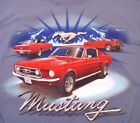 """Ford Mustang T-Shirt """"3 Red Ponies"""" New NWT Blue"""