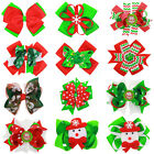 6 inch Hair Bow Ribbon Lined Clip Girl Bowknot Hair Accessory Boutique Christmas
