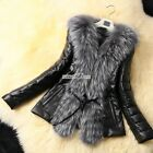 Women Long Sleeve Faux Fur Leather Coat Jacket Outwear Warm Outerwear M-XXXL Top