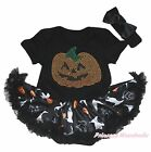 Rhinestone Pumpkin Halloween Black Bodysuit Girl Ghost Cat Baby Dress Set NB-18M
