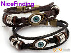 Fashion Evil Eye Protection Surfer Leather Bracelets Adjustable Unixes Jewelry