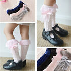 Toddler Baby Girls Ribbon Bow Frilly Knee High Socks For 9 Months to 4 Years