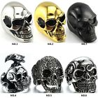 A 316L Stainless steel steam men punk ring gothic rings cool skull Men's Jewelry