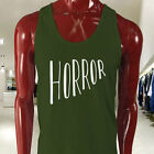 Horror Halloween Scary Bloody Costume Vampire Mens Military Green Tank Top