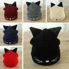 N2 New Winter Thick Wool Hat With Two Cat Ears Women's Knit Beanie Warm&Soft Cap