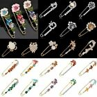 Wedding Brooch Pin Safety Pin Gold Silver Flower Pearl Crystal Men Woman Jewelry image