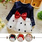 Toddler Kids Baby Girls Long Sleeve T-shirt Tops Bowkot Dot Party Tutu Dress New