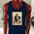 UNCLE SAM ARMY WANT YOU  RECRUIT AMERICAN SOLDIER Mens Navy Tank Top