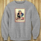 UNCLE SAM ARMY WANT YOU  RECRUIT AMERICAN SOLDIER Womens Gray Sweatshirt