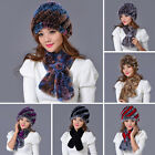 Cossack Real Knitted Rex Rabbit Fur Hat+Scarf Vogue Style Cap Sets Beanie Wraps