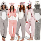 Ladies/Womens Animal Fleece Onesie All In One Hood Loungewear Pyjamas Size 8-22