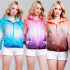 Women's Men's Hooded Gradient Color Jacket Casual Sports Trench Coat Windbreaker