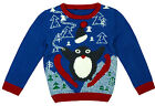 Boys Toddler Penguin Squeak Ski Xmas Knitted Winter Jumper 9 Months to 6 Years