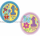 """32 First 1st Birthday Party 10"""" Paper Plates Hugs & Stitches 20cm Boy/Girl"""