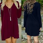 Women Fashion Summer Casual Long Sleeve Short Mini Dress Evening Party Cocktail