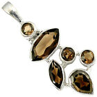 925 STERLING SILVER NATURAL BROWN SMOKY TOPAZ PEAR ROUND PENDANT JEWELRY H91272