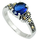 BLUE SAPPHIRE QUARTZ MARCASITE 925 STERLING SILVER RING JEWELRY SIZE 7 A24829