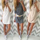 New Women V Neck Long Sleeve Jumper Top Ladies Bodycon Sweater Shirt Mini Dress