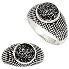 NATURAL BLACK TOPAZ ROUND 925 STERLING SILVER MENS RING JEWELRY SIZE 10 A12019