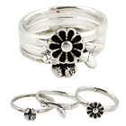 925 STERLING SILVER BUTTERFLY WITH FLOWER 3 RING JEWELRY SIZE 7.5 A16566