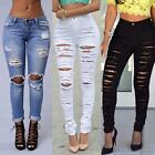 New Women Girl Pants Ripped Knee Cut Skinny Boyfriend Long Jeans Trousers