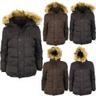 New Boys Kids Childrens Warm Winter Snow Padded Coat Parka Fur Hooded Jacket