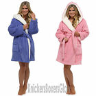 Womens/Ladies Sherpa Fleece Hooded Honeycomb Dressing Gown/Bath Robe Size S M L