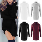 WOMENS LADIES CABLE KNITTED LONG SLEEVE POLO NECK STRETCH JUMPER DRESS CARDIGANS