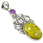 NATURAL YELLOW LIZARDITE (MEDITATION STONE) AMETHYST 925 SILVER PENDANT J6264