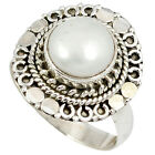NATURAL WHITE PEARL 925 STERLING SILVER SOLITAIRE RING JEWELRY SIZE 8 J18190