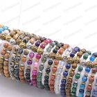 8MM Natural Gemstone Round Beads Lion Head Stretchy Bracelets Assorted Stones  image