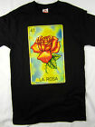 Mexican Loteria La Rosa spanish black funny men's tee shirt choose A size